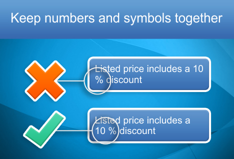 Keep numbers together with percentage signs